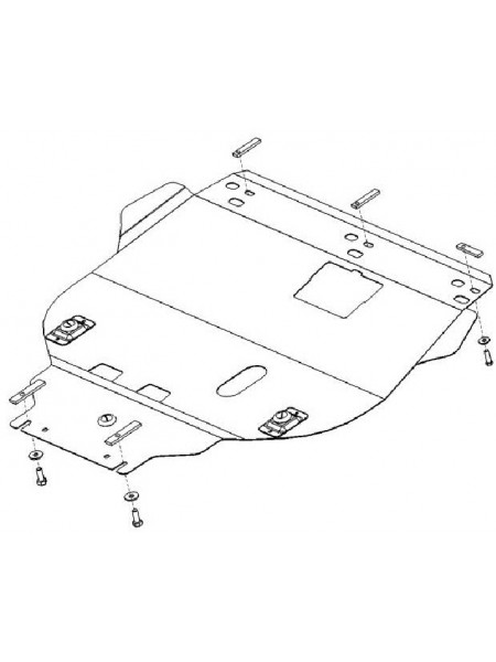 Защита двигателя, КПП, радиатора для авто Ford Focus II 2004-2011 V-все дизель ( TM Kolchuga ) Стандарт