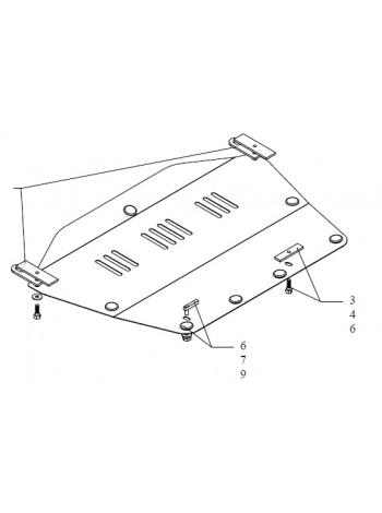 Защита двигателя, КПП, радиатора для авто Honda Civic VIII 2006-2012 V-все (седан кроме HYBRID) ( TM Kolchuga ) Стандарт