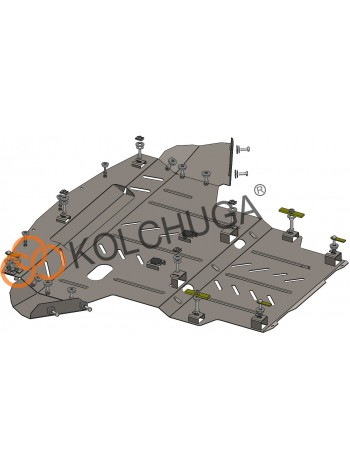 Защита двигателя, КПП, радиатора для авто Seat Exeo 2008- V-все ( TM Kolchuga ) ZiPoFlex