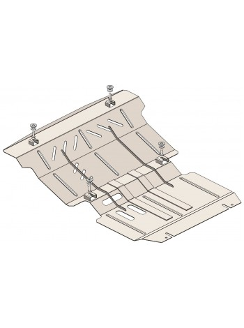 Защита радиатора, двигателя, редуктор для авто Mitsubishi L200 2015- V-2,4TDI ( TM Kolchuga ) ZiPoFlex