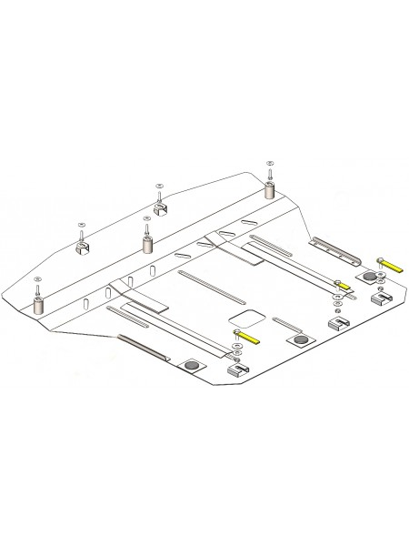 Защита двигателя, КПП, радиатора для авто Kia Rio V 2017- V-1,4i (сборка Корея) ( TM Kolchuga ) Стандарт