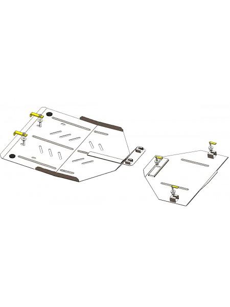 Защита раздат. коробки, заднего моста для авто Volkswagen Touareg 2002-2018 V-2,5TDI; 3.0 D; (АКПП) ( TM Kolchuga ) ZiPoFlex