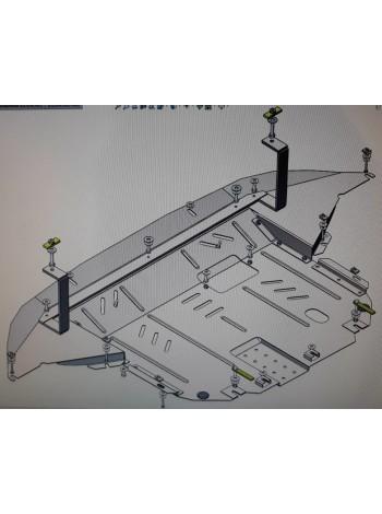 Защита двигателя, КПП, радиатора для авто Hyundai Santa Fe 2018- V-2,2CRDI; 2,4; ( TM Kolchuga ) Стандарт