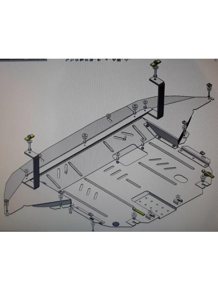 Защита двигателя, КПП, радиатора для авто Hyundai Santa Fe ( 2018-2020 ) V-2,2CRDI; 2,4; ( TM Kolchuga ) ZiPoFlex