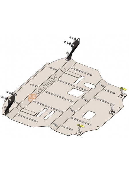 Защита двигателя, КПП, радиатора для авто Hyundai Elantra VI (AD) 2016-2018- V-1,6GDI; 2,0; (АКПП, устанавливается поверх штатной защиты) ( TM Kolchuga ) ZiPoFlex