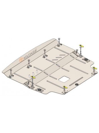 Защита двигателя, КПП, радиатора для авто Hyundai Elantra CN7 2021- V-1,6i (АКПП) ( TM Kolchuga ) ZiPoFlex