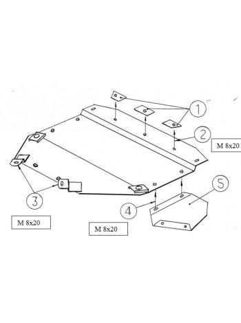 Защита двигателя радиатора для авто Audi A6 C5 1997-2004 V-1,8T; 1,8; 1,9D; 2.4; 2.8; 2.5D; ( TM Kolchuga ) Стандарт