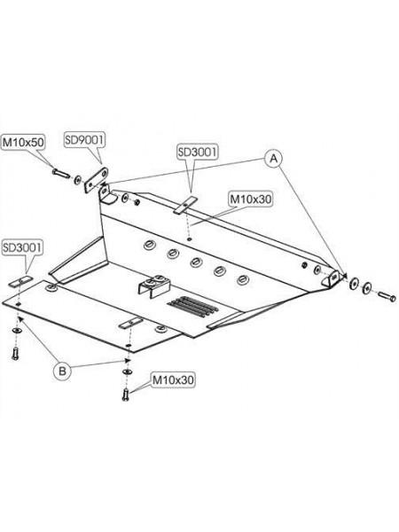 Защита двигателя, КПП, радиатора для авто Toyota RAV 4 II 2000-2005 V-все (бензиновые) ( TM Kolchuga ) Стандарт