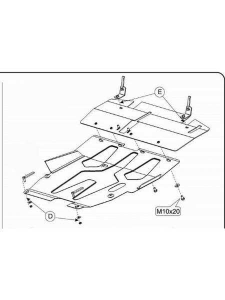 Защита двигателя, КПП, радиатора для авто Mitsubishi Lancer IX 2003-2007 V-1,5 2,0 ( TM Kolchuga ) Стандарт