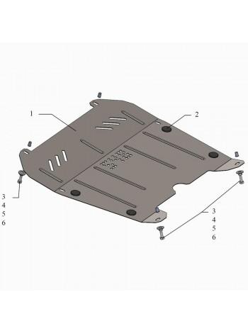 Защита двигателя, КПП, радиатора для авто Fiat Croma II 2005-2011 V-все ( TM Kolchuga ) Стандарт