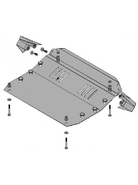 Защита двигателя и КПП для авто Kia Sportage II 2004-2010 V-все ( TM Kolchuga ) ZiPoFlex